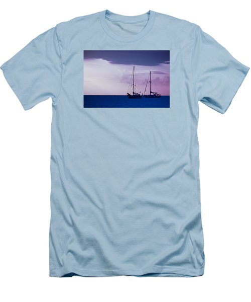 Men's T-Shirt (Slim Fit) featuring the photograph Sailboats At Sunset by Don Schwartz