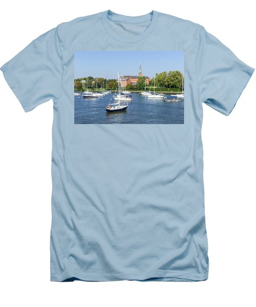 Men's T-Shirt (Slim Fit) featuring the photograph Sailboats By Charles Carroll House by Charles Kraus