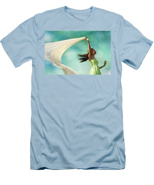 Sailing A Favorable Wind Men's T-Shirt (Slim Fit) by Laura Fasulo