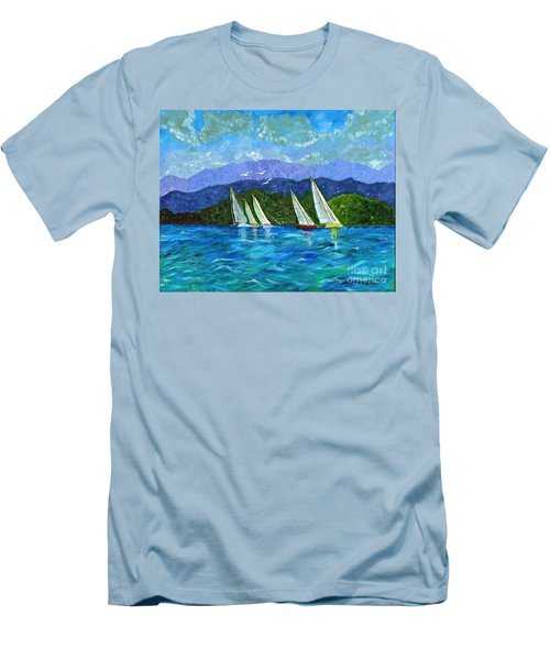 Men's T-Shirt (Slim Fit) featuring the painting Sailing by Laura Forde