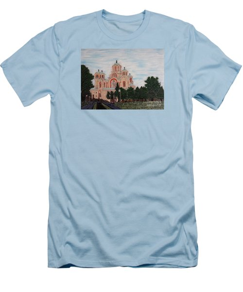 Men's T-Shirt (Slim Fit) featuring the painting Saint Marko Church  Belgrade  Serbia  by Jasna Gopic