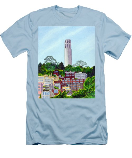 San Francisco's Coit Tower Men's T-Shirt (Slim Fit) by Mike Robles