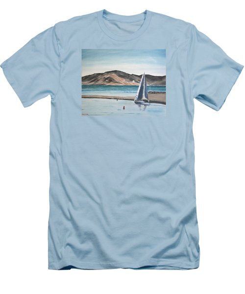 Men's T-Shirt (Slim Fit) featuring the painting Santa Barbara Sailing by Ian Donley