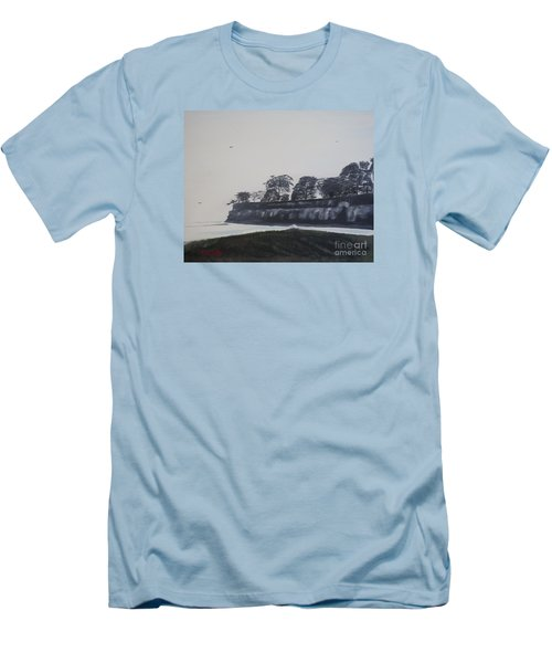 Men's T-Shirt (Slim Fit) featuring the painting Santa Barbara Shoreline Park by Ian Donley