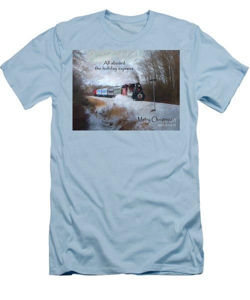 Men's T-Shirt (Slim Fit) featuring the digital art Santa Train - Waterloo Central Railway by Lianne Schneider
