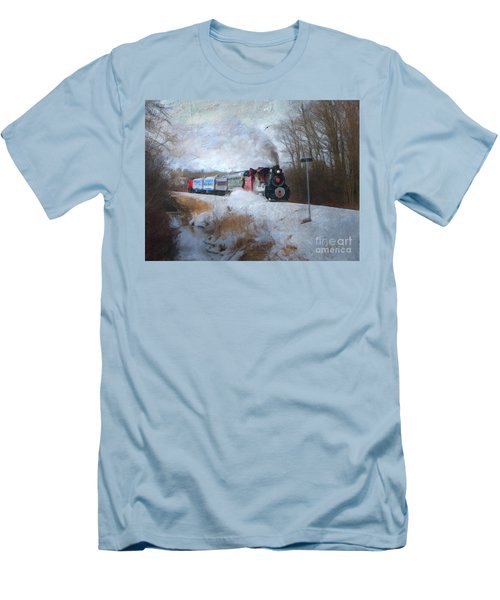 Men's T-Shirt (Slim Fit) featuring the digital art Santa Train - Waterloo Central Railway No Text by Lianne Schneider