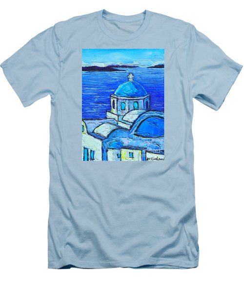Santorini  Blue Men's T-Shirt (Slim Fit) by Ana Maria Edulescu