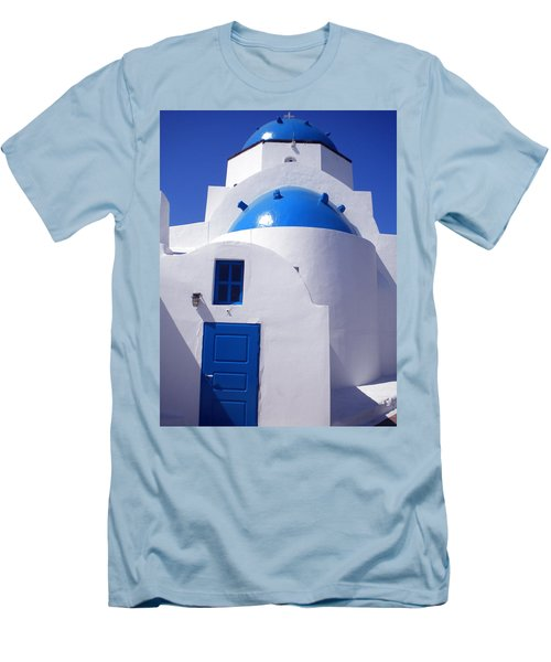 Men's T-Shirt (Slim Fit) featuring the photograph Santorini Church  by Colette V Hera  Guggenheim