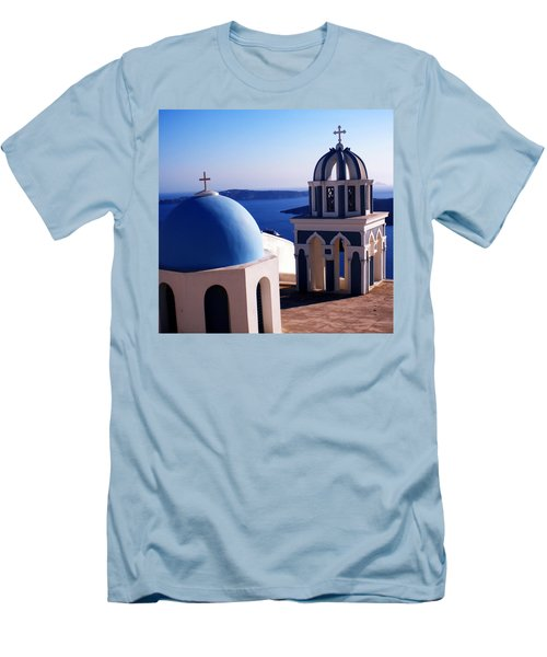 Men's T-Shirt (Slim Fit) featuring the photograph Santorini  Island Church Greece  by Colette V Hera  Guggenheim