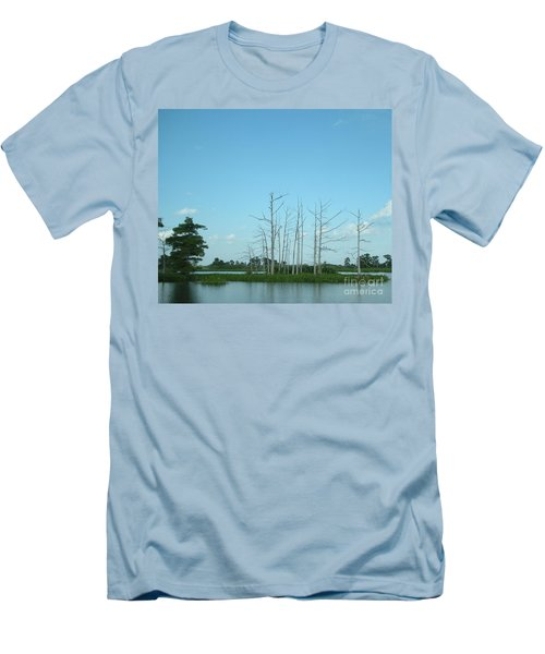 Men's T-Shirt (Slim Fit) featuring the photograph Scenic Swamp Cypress Trees by Joseph Baril