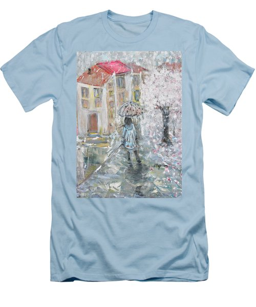 Men's T-Shirt (Slim Fit) featuring the painting Scent Of Spring by Evelina Popilian