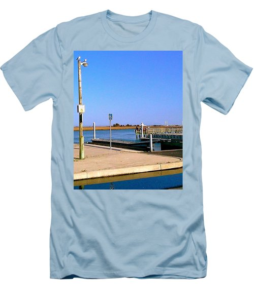 Men's T-Shirt (Slim Fit) featuring the photograph Sea Gulls Watching Over The Wetlands by Amazing Photographs AKA Christian Wilson