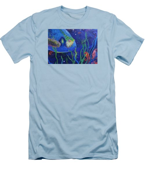 Sea Horse And Blue Fish Men's T-Shirt (Slim Fit) by Anne Marie Brown
