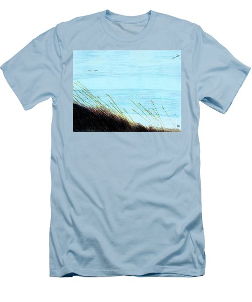Men's T-Shirt (Slim Fit) featuring the drawing Sea Oats In The Wind Drawing by D Hackett