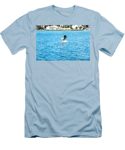 Men's T-Shirt (Slim Fit) featuring the photograph Seagull At St Kilda by Yew Kwang