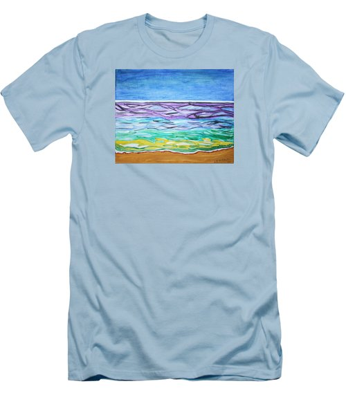 Men's T-Shirt (Slim Fit) featuring the painting Seashore Blue Sky by Stormm Bradshaw
