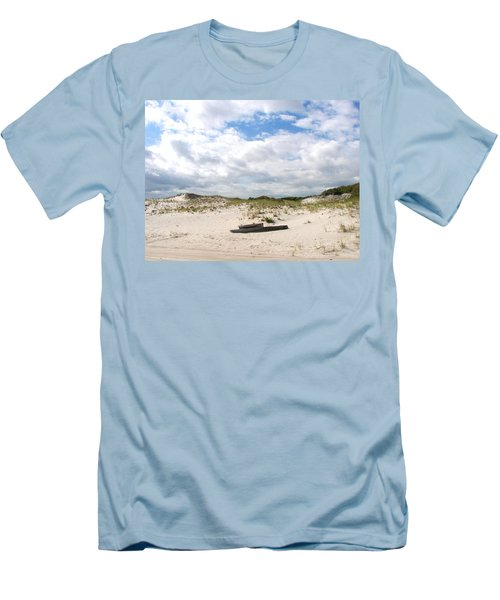 Men's T-Shirt (Slim Fit) featuring the photograph Seaside Driftwood And Dunes by Pamela Hyde Wilson
