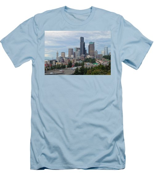 Men's T-Shirt (Slim Fit) featuring the photograph Seattle Downtown Skyline On A Cloudy Day by JPLDesigns