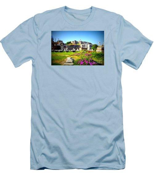 Men's T-Shirt (Slim Fit) featuring the photograph Selcuk Castle by Lou Ann Bagnall