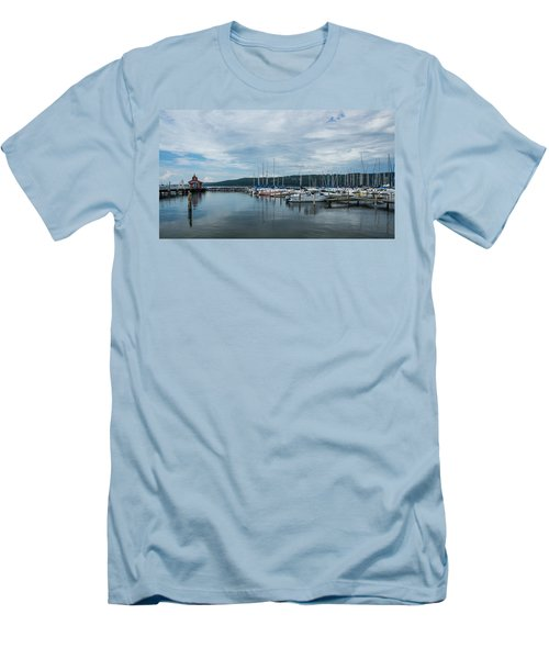 Seneca Lake Harbor - Watkins Glen - Wide Angle Men's T-Shirt (Slim Fit) by Photographic Arts And Design Studio