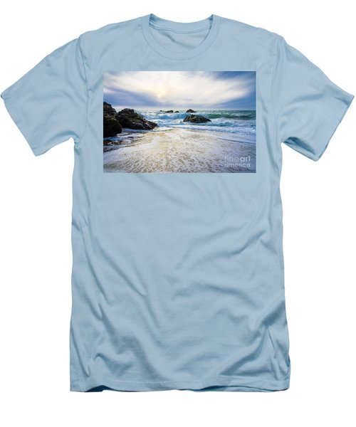Setting Sun And Rising Tide Men's T-Shirt (Slim Fit) by CML Brown
