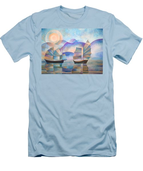 Men's T-Shirt (Slim Fit) featuring the painting Shades Of Tranquility by Tracey Harrington-Simpson