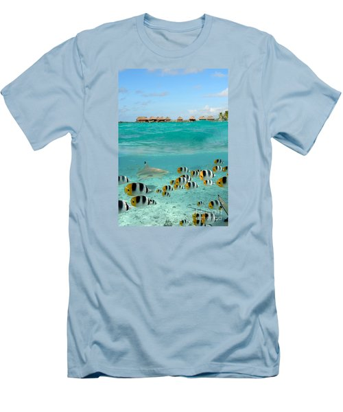 Over-under With Shark And Butterfly Fish At Bora Bora Men's T-Shirt (Slim Fit) by IPics Photography