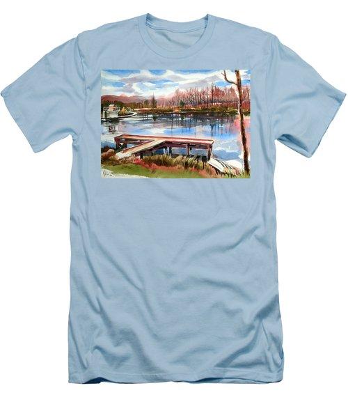 Shepherd Mountain Lake In Winter Men's T-Shirt (Slim Fit) by Kip DeVore