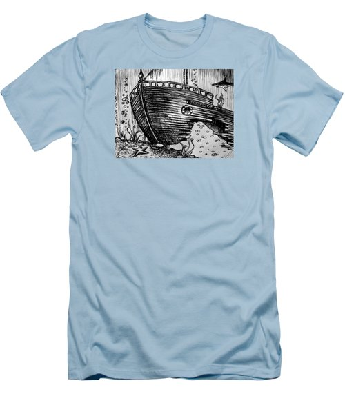 Men's T-Shirt (Slim Fit) featuring the painting Shipwreck by Salman Ravish