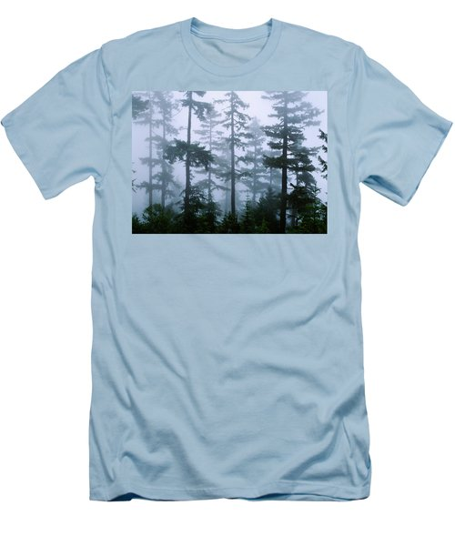 Silhouette Of Trees With Fog Men's T-Shirt (Athletic Fit)