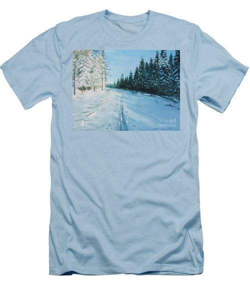 Ski Tracks Men's T-Shirt (Slim Fit) by Martin Howard