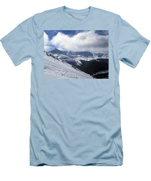 Skiing With A View Men's T-Shirt (Slim Fit) by Fiona Kennard