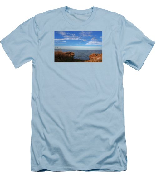 Men's T-Shirt (Slim Fit) featuring the photograph Sky Water And Grasses by Nareeta Martin