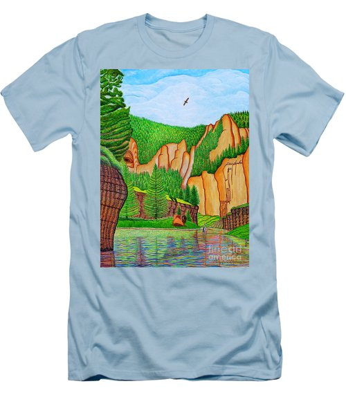Men's T-Shirt (Slim Fit) featuring the painting Smith River Montana by Joseph J Stevens