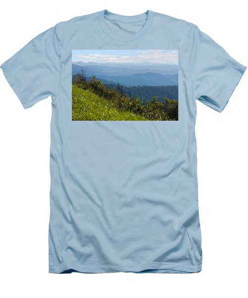 Smoky Mountains View Men's T-Shirt (Slim Fit) by Melinda Fawver