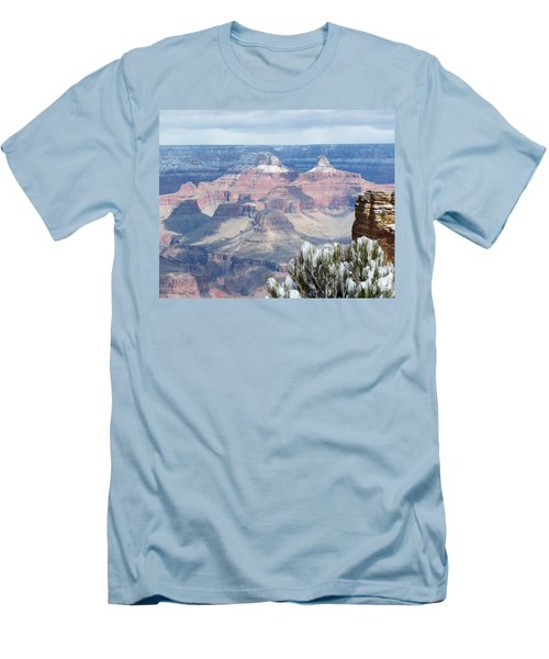 Snow At The Grand Canyon Men's T-Shirt (Slim Fit) by Laurel Powell