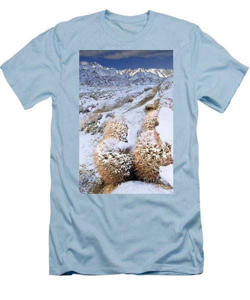 Men's T-Shirt (Slim Fit) featuring the photograph Snow Covered Cactus Below Mount Whitney Eastern Sierras by Dave Welling
