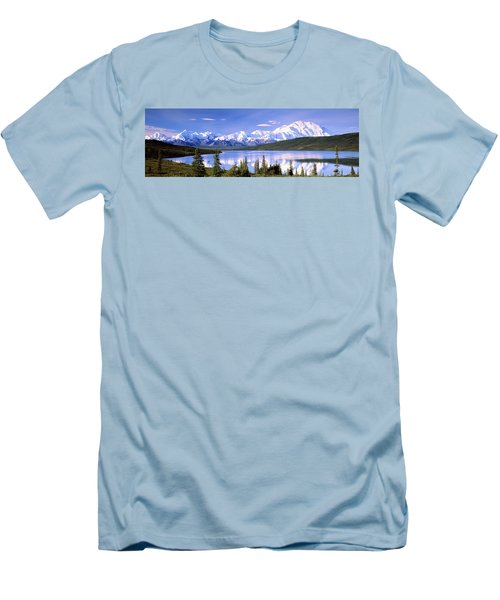 Snow Covered Mountains, Mountain Range Men's T-Shirt (Athletic Fit)