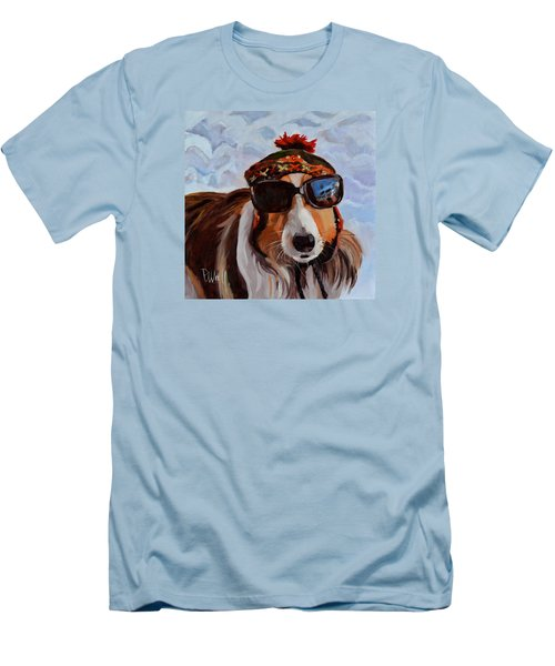Men's T-Shirt (Slim Fit) featuring the painting Snow Dog by Pattie Wall