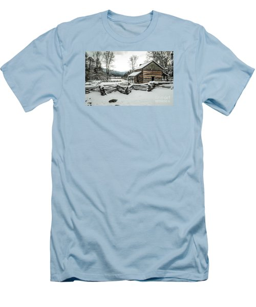 Men's T-Shirt (Slim Fit) featuring the photograph Snowy Log Cabin by Debbie Green