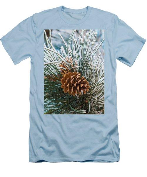 Snowy Pine Cones Men's T-Shirt (Athletic Fit)