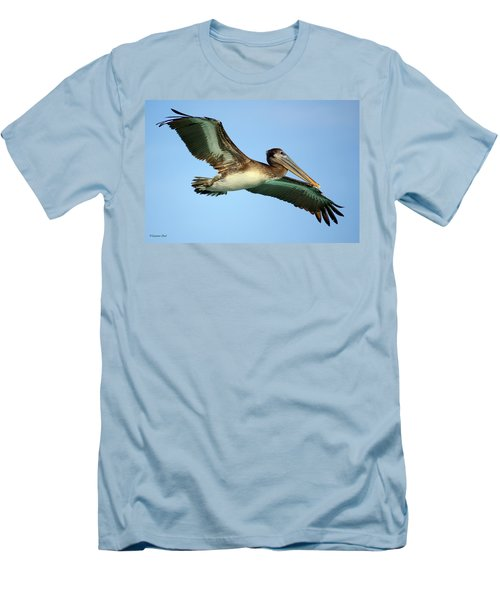 Men's T-Shirt (Slim Fit) featuring the photograph Soaring Pelican by Suzanne Stout