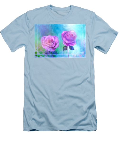 Men's T-Shirt (Slim Fit) featuring the painting Soft And Beautiful Roses by Annie Zeno