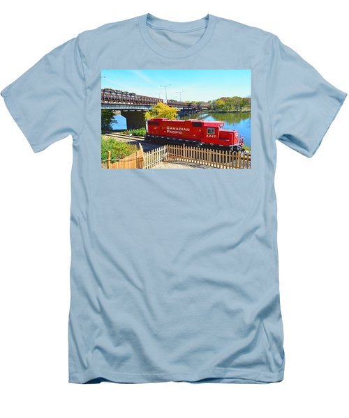 Solo Red Canadian Pacific Engine Along Rock River In Rockford Men's T-Shirt (Slim Fit) by Jeff at JSJ Photography