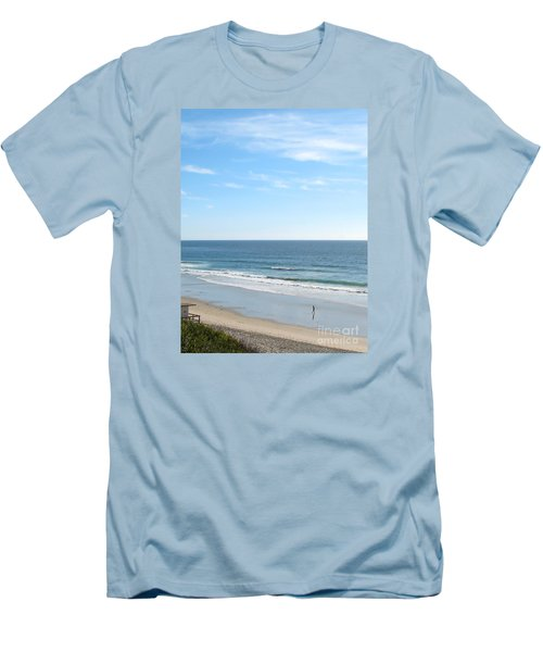 Solo Walk On Southern California Beach Men's T-Shirt (Slim Fit) by Connie Fox