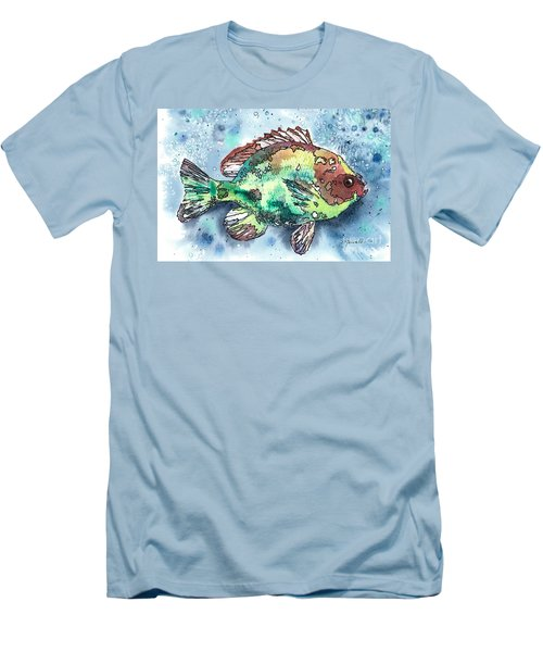 Men's T-Shirt (Slim Fit) featuring the painting Something's Fishy Two by Barbara Jewell