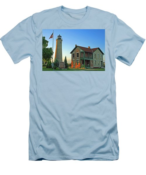 Men's T-Shirt (Slim Fit) featuring the photograph Southport Lighthouse On Simmons Island by Kay Novy