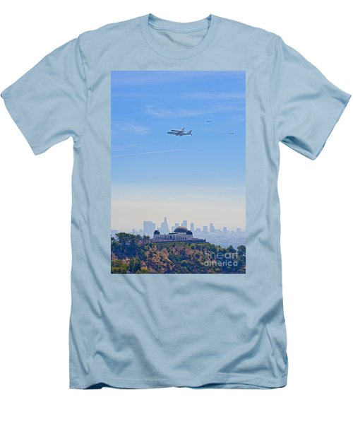 Space Shuttle Endeavour And Chase Planes Over The Griffith Observatory Men's T-Shirt (Slim Fit) by David Zanzinger