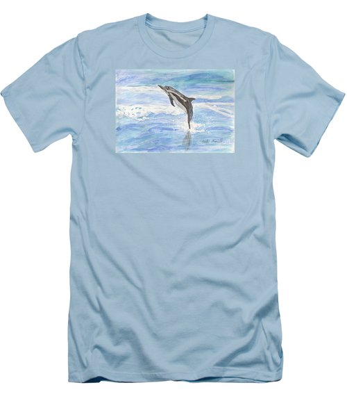 Spinner Dolphin Men's T-Shirt (Slim Fit) by Pamela  Meredith