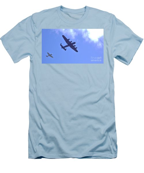 Spitfire  Lancaster Bomber Men's T-Shirt (Slim Fit) by John Williams